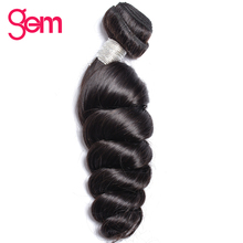 Indian Remy Hair Loose Wave Hair Extensions 1Pcs 100% Human Hair Weave Bundles GEM BEAUTY SUPPLY Hair Products Natural Black 1b(China)