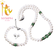 NYMPH Classic Emerald Stones Pearl Jewelry Set Necklace Earrings Bracelet 8-9mm Fresh Water Pearl Wedding Jewelry Sets(China)