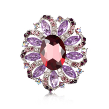 Oval Acrylic Stone Centred Women's Flower Brooches Fashion Costume Jewelry in assorted colors