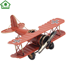 Vintage Double Wings Metal Iron Airplane Model Handcraft Plane Aircraft Home Wedding Decoration Collection Kids Toy Styling Gift