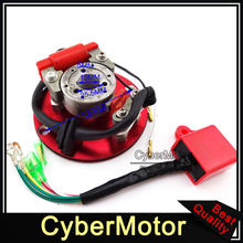 Motorcycle Red Racing Magneto Stator Rotor Ignition CDI Box For 110cc 125cc 140cc Engine Chinese Lifan YX Pit Dirt Motor Bike