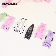 AKWZMLY 6Pcs/set Cute Cartoon Animal Hair Clips Girls 5.5CM Hair Accessories Print Cat Rabbit Metal Snap Hairpins Kids Gift