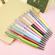 Ballpoint Pen with Top bling Diamond Crystal Metal brand Ball Point Pens Lovers Logo Signature Stationery Office School Supplies