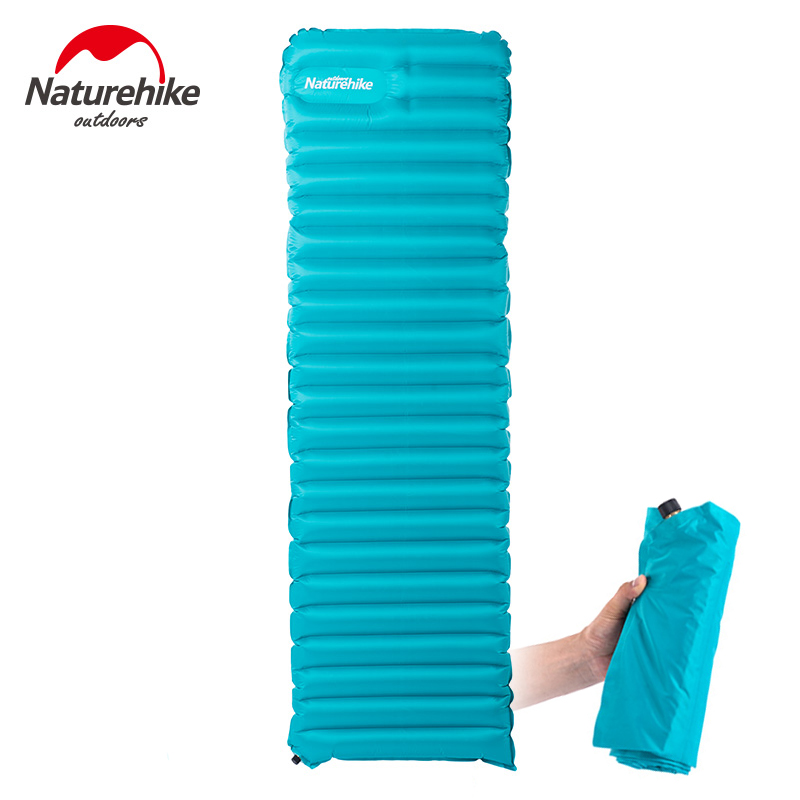 Naturehike Manually Inflatable Camping Mat Ultralight Breathable Damp-proof Air Mattress Outdoor Tent Bed Pad 1830x500x90mm<br>