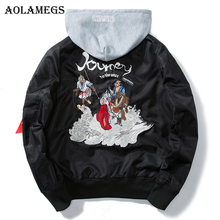 Aolamegs Bomber Jacket Men Journey To The West Hooded Plus Size Men's Jacket Hip Hop Outwear Autumn Men Coat Baseball Jackets(China)