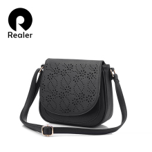 REALER brand designer shoulder bag female vintage floral hollow out handbag solid messenger bags women saddle bag