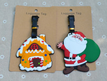 2pcs/set Chiristmas Santa sweet candy house luggage tag BAG TAG School bag key chain ring kids toys Christmas gift boys girls