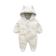 Newborn Baby Clothes Bear Onesie Baby Girl Boy Rompers Hooded Plush Jumpsuit Winter Overalls For Kids Roupa Menina