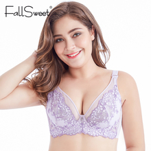 Buy FallSweet Embroidery Lace Bras Ultra thin Lingerie Plus Size Brassiere Large Cup Underwire Breathable Bralette 32B 42F