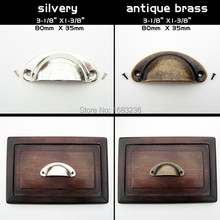 6pcs Antique Brass Silvery Shell Jewelry Box Chest Cabinet Cupboard Dresser Drawer Pull Furniture Door Handle 80x35mm with screw