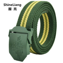 Women's canvas belt Green letters logo discount Military tactical body Width 3.8CM Designer high quality Fashion brand Ladies(China)