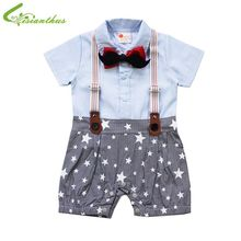 Baby Boys Climbing Romper Necktie Cravat Toddler Cotton Short Sleeved Suspender Trousers Climb Clothes Infant Summer Clothing