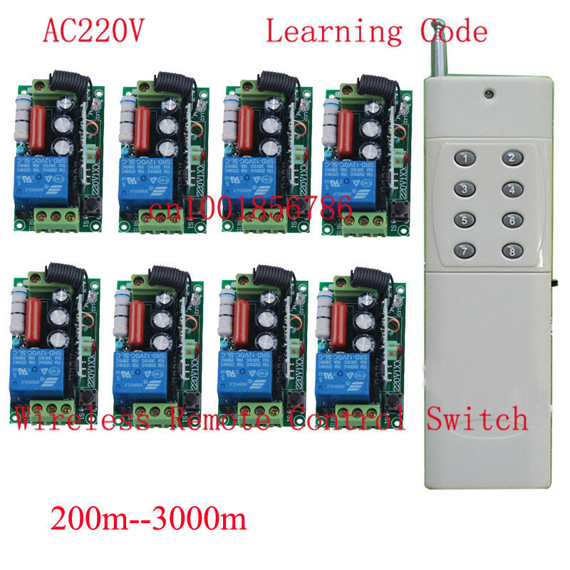 AC220V 8CH Wireless Switches Receiver + Long Range Distance Transmitter Big Building Farm Remote Control System<br>