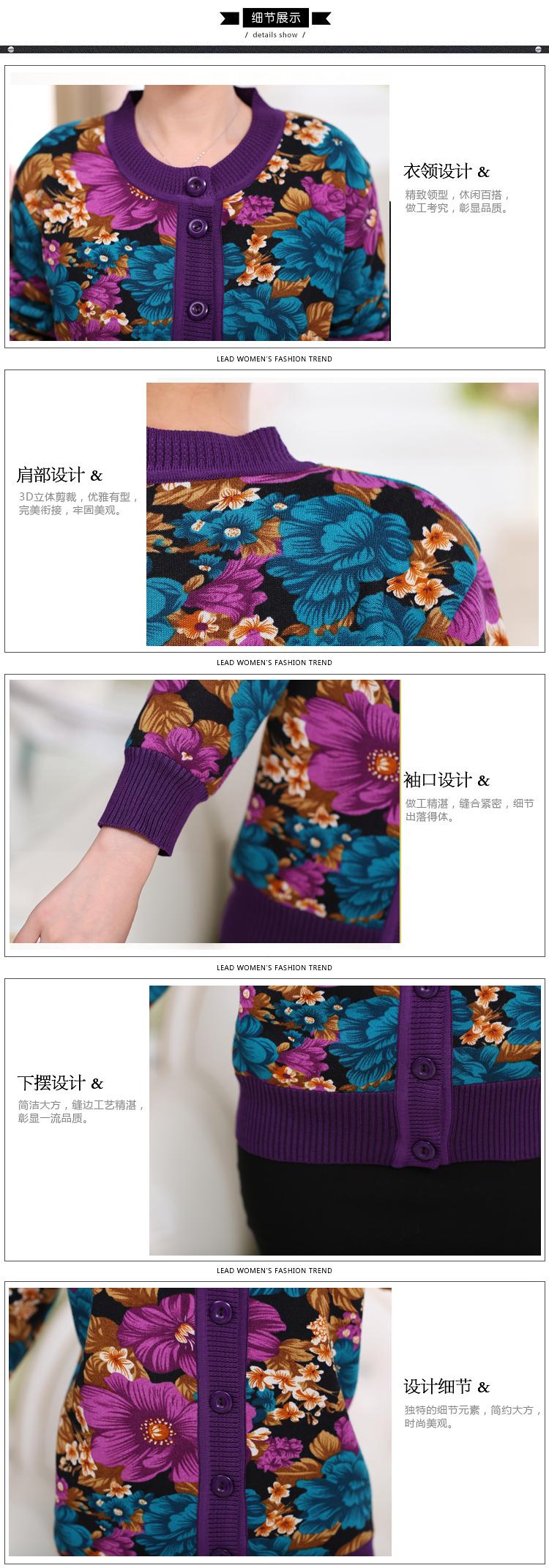 WAEOLSA Winter Woman Flower Cardigan Sweaters Middle Aged Women\`s Thicken Fleece Knitwear Lady Knied Cardigan Sweater Warm Top Mother (1)