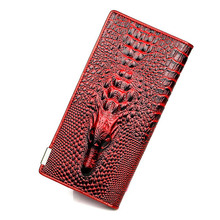 New fashion Women Wallet Genuine Leather Women's Purse 3D Embossing Alligator pattern Long Clutch Wallet Luxury Brand Coin Purse(China)