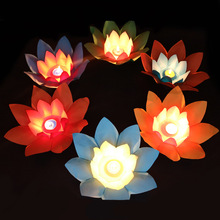 Multicolor Artificial Paper Lotus flower Lamp Floating Water flower swimming Pool Wishing Light Lamps Lanterns Party Decoration