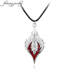 feimeng jewelry Game Blood Elf Necklace Horde Symbol Vintage Enamel Rhombus Pendant Necklace For Men Fashion Cool Accessories