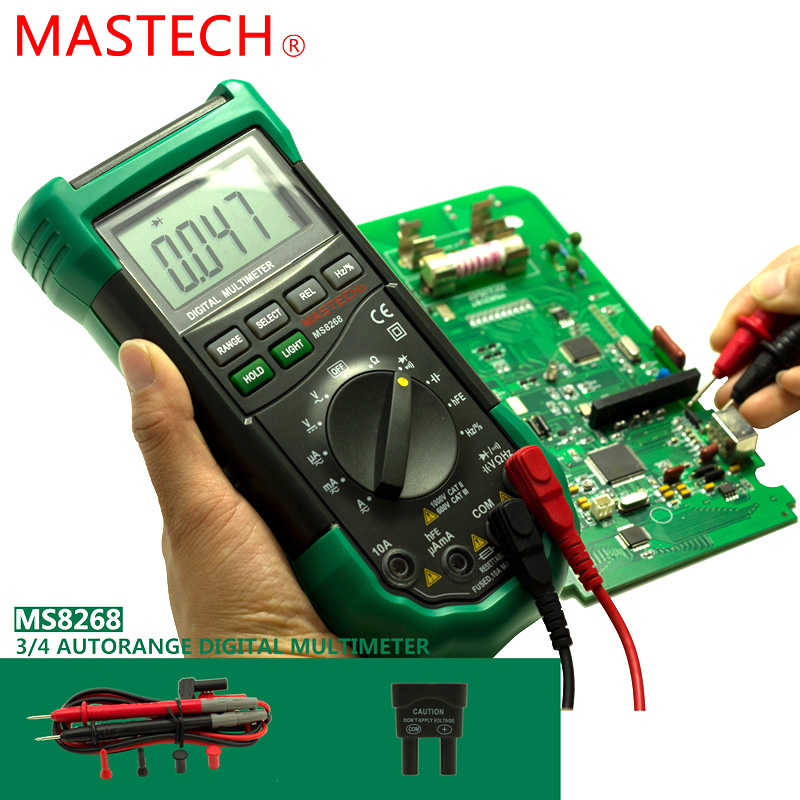 MASTECH MS8268 Auto Range Digital Multimeter Full protection ac/dc ammeter voltmeter ohm Frequency electrical tester<br><br>Aliexpress