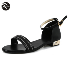 Kimfoxes Women Sandals Hot Summer Crystal Diamond Flat Shoes Girls Peep Toe Sandals Women Shopping Party Sandals Black White