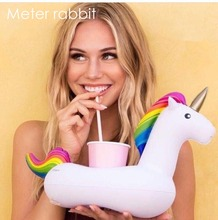 summer unicorn water float inflatable drink holder swimming pool cup phone holder unicorn patty supplies beverage boat kids toys