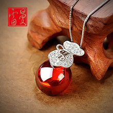 famous brand 925 Sterling Silver necklace Natural semi-precious stones Garnet Pendant girls Korean women Jewelry Girlfriend gift(China)