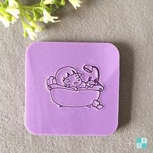 Free shipping Bathing Girl Natural Handmade Soap Mini DIY Soap Stamp Chapter 4cm*4cm