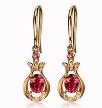 GVBORI 100% Red Tourmaline earrings 18K Rose Gold Diamond Earrings For Women Fine Jewelry Christmas/Wedding/Engagement/Party(China)