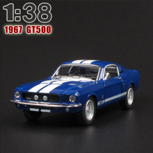 New Ford 1967 Shelby GT-500 1:38 Alloy Diecast Model Car Blue Toy Car Collection For Boy Children As Gift