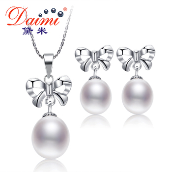 Daimi perla del bowknot set 925-silver-earrings + colgante de joyería romántica establece regalos de joyería fina para las mujeres