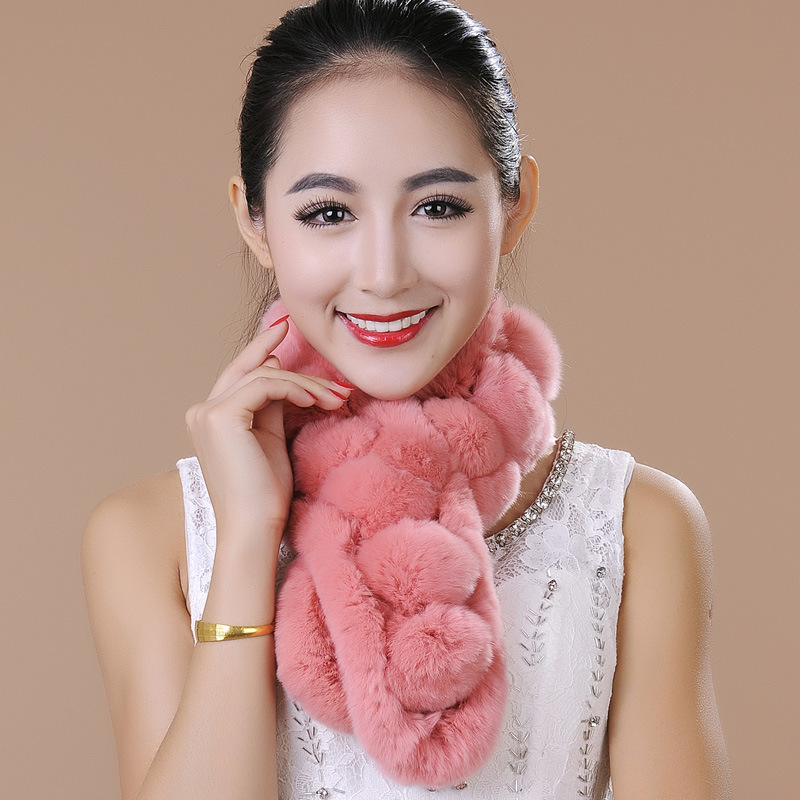 New Fashion Winter fur collar rabbit fur Scarf fashion Rex Rabbit Fur scarves Natural Fur Ball Female scarf