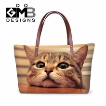 Personalized Cute Cat Over Shoulder Handbags Pattern for Girls,Womens nice handbag storage,larger Hands Bag for Ladies shopping(China)