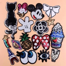 DIY Iron On Flower Patches Duck Clothes Patch Sewing Sequins Applique Bowknot Hot Fix Eyes Motif New Hotfix Garment Stickers(China)