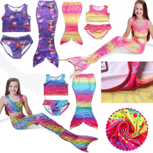 3PCS Girls Swimming Suit Mermaid-Tail Costume Kids Mermaid Tails Children Swimmable Bikini Mermaid Kid Swimwear Dress