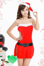 New Sexy Hot Lady Women Christmas Red Santa Claus Soft Costume Outfit Hat Dress Set