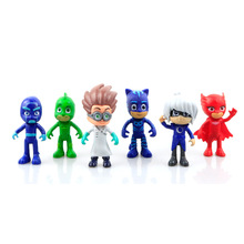 6Pcs/set Pj Masks toy 8cm Model Characters Catboy  Owlette Gekko Cloak Action Figure Toys Kids Children loves Pj Masks toys