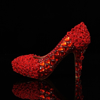 2016 Diamond wedding shoes red high heels wedding shoes slipper bridesmaid wedding shoes Round Toe Formal Shoes<br><br>Aliexpress