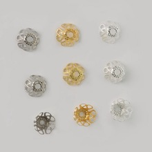 Wholesale Approx 300pcs Gold/Silver/Rhodium Color Flower Iron Bead Caps Jewelry Finding 6*8mm