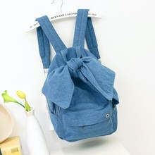 Girls Women Denim Backpacks with Big Bow 2017 Fashion Trends Female Back Bags Jeans Cloth Big Capacity Blue Backpacks Travel Bag