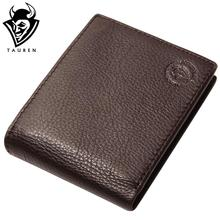 Excellent Genuine Cow Leather Coffee Wallet For Office Man Men's Vintage Wallets Coin Purse
