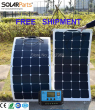 free shipping Solarparts 2PCS 100W flexible 12V solar panel camper cell boat RV solar module car/RV/boat battery charger caravan