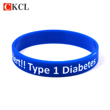 Diabetic bracelets medical alert type 1 diabetes insulin dependent silicone wristband armband nurse bracelet & bangle(China)