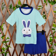 2018 Wholesale Baby Boy Summer Clothing Sets Striped Appliques Bunny Blue Capris Kids Wear Matching 2 Pcs Outfits E010(China)