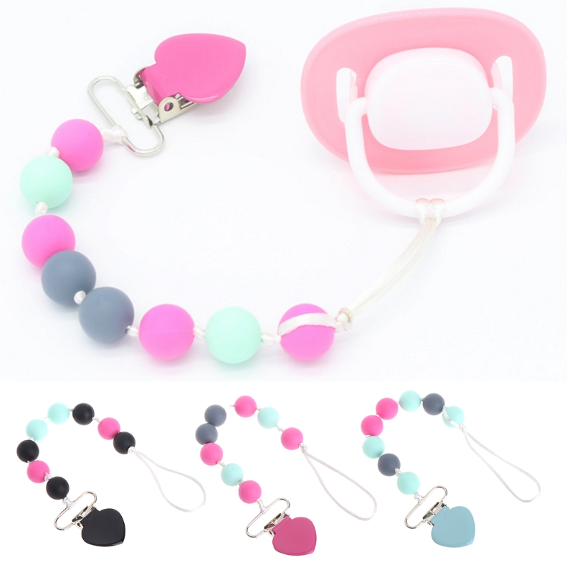 Baby Pacifier Chain Silicone Beads Teething Toy Nipple Infant Soother Holder -M15