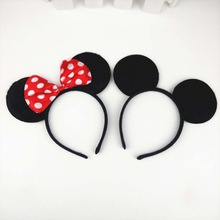 Hot One Mickey And Minnie Style Hairbands Red Bow Tie Headbands Big Mouse Ear Hairpin 2 Colors Christmas Halloween Supplier