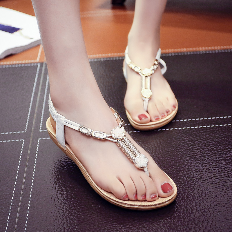 Women sandals 2017 high quality PU casual flat summer shoes women comfortable elastic band ethnic string bead sandalias mujer<br><br>Aliexpress