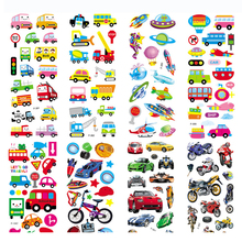 6pcs/lot 3D Puffy Bubble Transportation Anime Stickers Cartoon Foam Car Stickers for Kids DIY refrigerator/backpack/Scrapbook