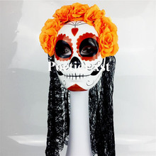 (1 piece/lot) New handmade full-face plastic with orange flowers & black lace Women's pretend display Day of The Dead masks