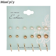 MissCyCy 9 Pairs/Set Vintage Gold Color Simulated Pearl Stud Earrings For Women Men boho Koyle Brincos Clip Cuff Earring Set