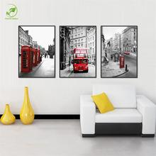 Modern London Red Bus Car Wall Art Picture Melamine Sponge Board Canvas Prints Oil Painting 3pcs Frame Art Picture London Paint