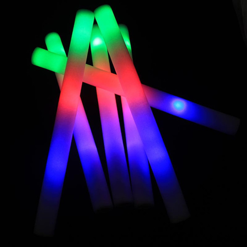24Pcs-Lot-Colorful-Flashing-LED-Foam-Sticks-48cm-Light-Up-Glow-Stick-Soft-Rally-Rave-Cheer 2